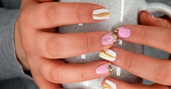 Blush and Gold Geometric Glitter Nails