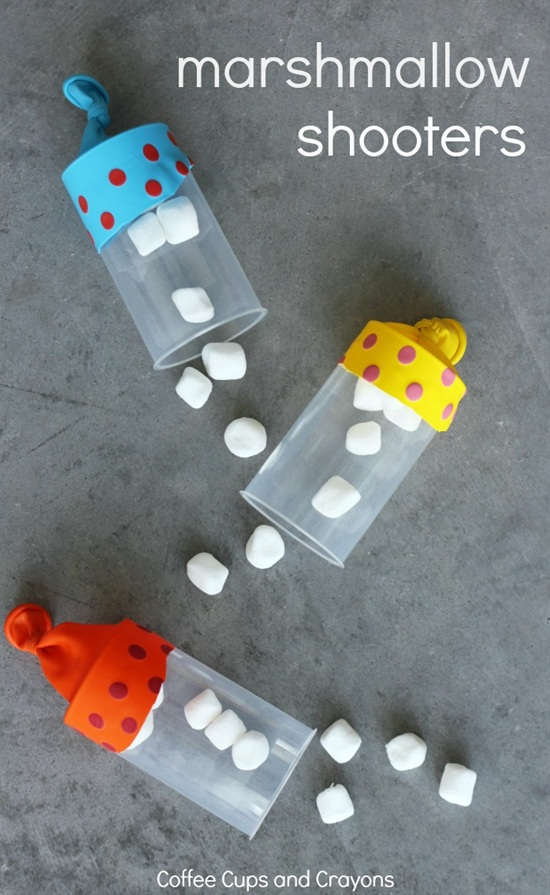 DIY Marshmallow Shooters DIY Kids Game and Craft Tutorial via Coffee Cups and Crayons - This marshmallow shooter DIY is a childhood must do!