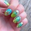 Luxe Mermaid nails using Swarovski crystals with microbeads and gold shells from the Born Pretty Store