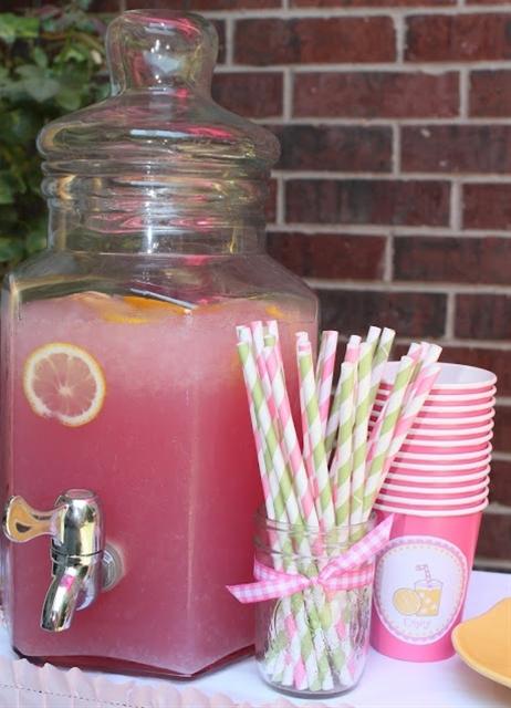 Pink lemonade for baby shower, blueberry pomegranate for blue