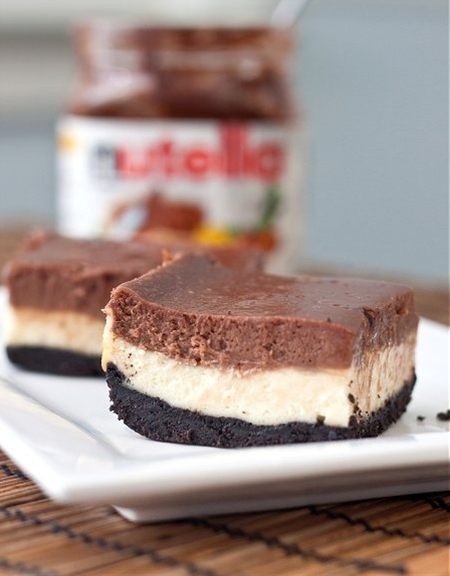 Nutella cheesecake bars