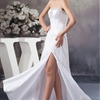 A Line/Princess Strapless Floor Length Charmeuse dress with Sequins