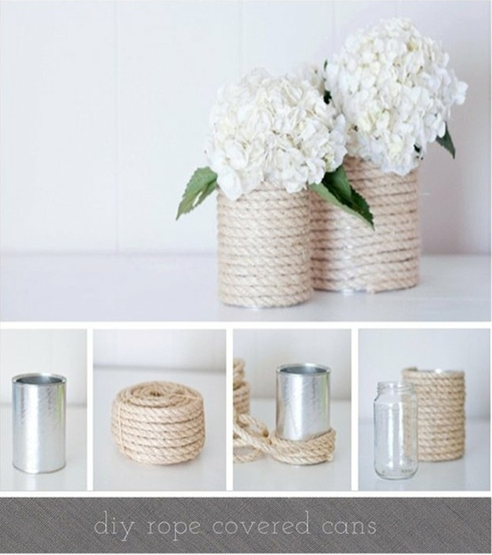 Here's a Nautical twist to the Tin Can vase….and it couldnt be more easy, just wrap  rope around it and secure with hot glue. I love the way it looks with plain white hydrangeas.