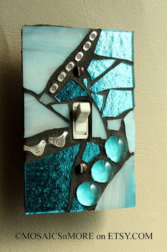 blue+light+switch+cover+men's | Blue Ice Mosaic Light Switch Cover Wall Plate by MOSAICSnMORE