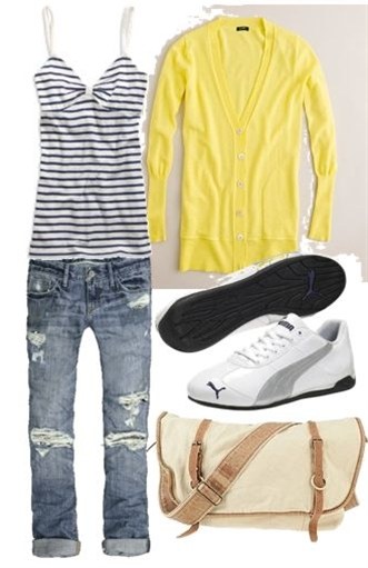 Tank – American Eagle, Cardigan – J Crew, Cropped Jeans – Abercrombie and Fitch, Sneakers – Puma, Messenger Bag – Urban Outfitters