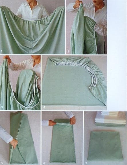 My grandma taught my mom this.. and my mom taught me.  Best instructions for how to fold the fitted sheets. It works I've been doing it for years!