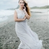Overcast Beach Wedding with Blues and Silver