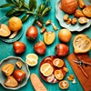 Still Life Photographers - Orange Veggies and FruitsPersimmons,...