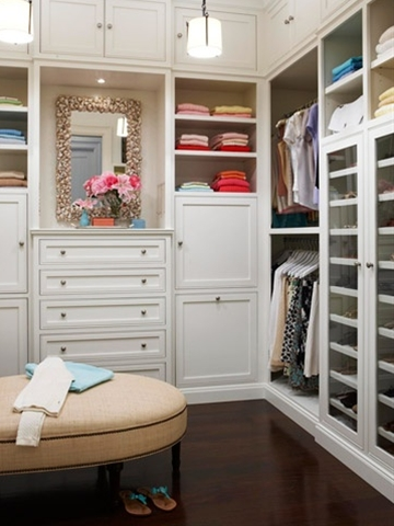 Plan a closet makeover by measuring your current closet to determine hanging requirements and storage needs. Next, you'll need to clear everything out of the closet so the new system can be installed. This is a good time to go through items you can no longer use and donate them to charity.