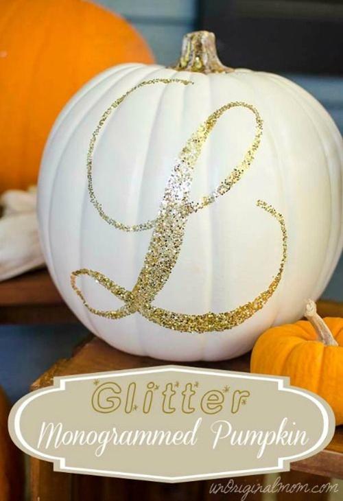 Glitter Monogrammed Pumpkin from Unoriginal Mom.