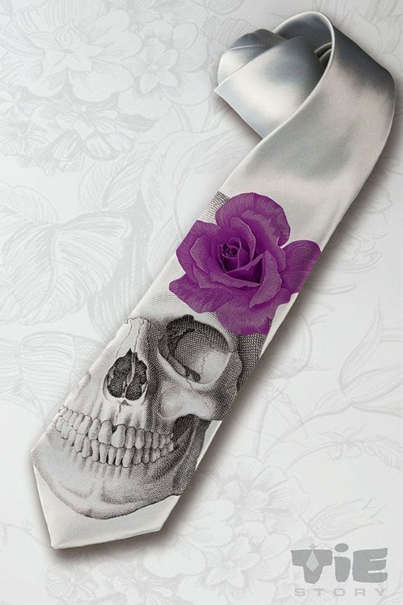 Mens gothic wedding necktie. Dia de los muertos necktie with purple rose. Horror skeleton hipster necktie. Halloween party gray necktie. Spooky mens