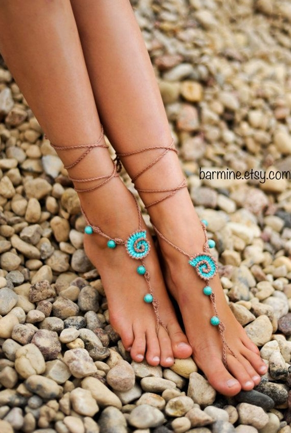 These wonderful seashell barefoot sandals with Turquoise gemstone can be worn barefoot or with shoes. Just perfect for your beach wedding! I can make them in IVORY or WHITE instead of the TAN to match your wedding colors. You may want them for your bridesmaids, for your reception, or to wear en route to your honeymoon...