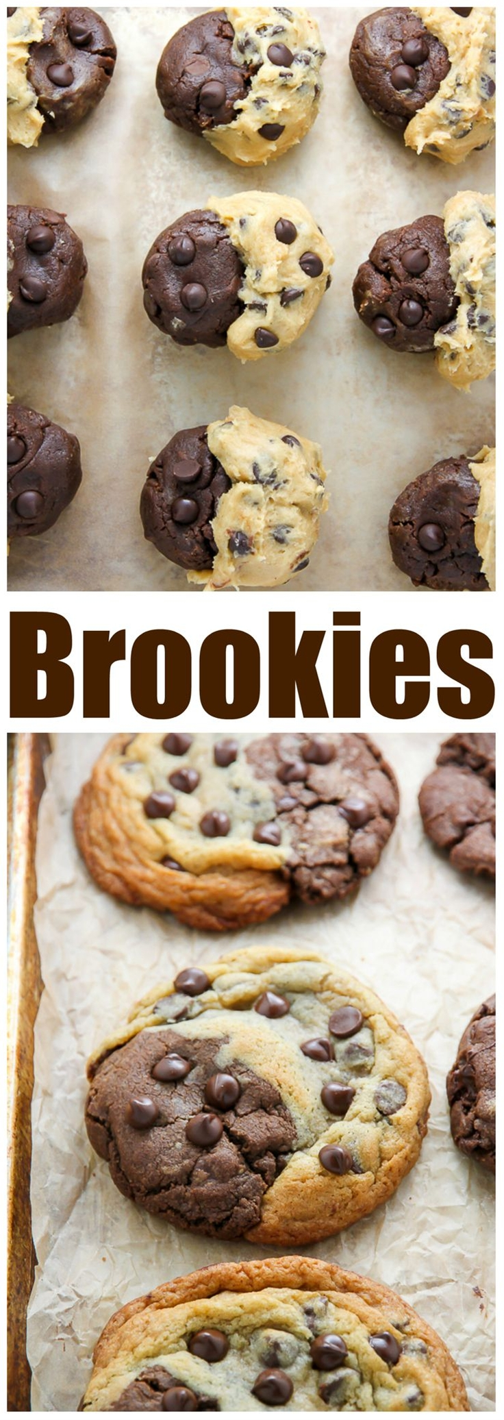 Thick and chewy, these treats are half chocolate chip cookies and half chocolate brownie!!! YUM.