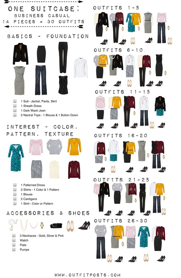 After many requests to create checklists for the other One Suitcase features - I spent last night catching up with my good friend Tivo (Project Runway & Grey's Anatomy!) while polyvoring a checklist graphic for the One Suitcase Business Casual!