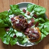 Grilled Shallot-Stuffed Peaches With Bacon and Buttermilk Dressing