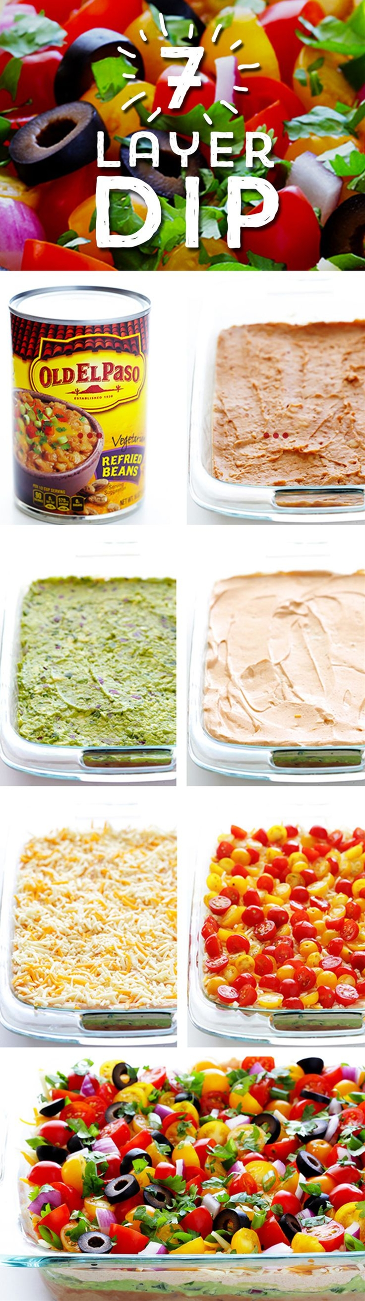 Need a delicious dish to share? This Colorful 7 Layer Dip is sure to be a hit! Start with Old El Paso™ Refried Beans, and pile on layer after layer of fresh, colorful ingredients... and voila! You have a dish perfect for sharing in 25 minutes!\n\n INGREDIENTS\n  1 (16-ounce) containersour cream (2 cups)\n ¼ cup (1 packet)Old El Paso™ taco seasoning\n 2 (15-ounce) cansOld El Paso™ refried beans\n 3 cupsguacamole\n 2 cupsshredded Mexican cheese\n 2 cupscherry or grape tomatoes, halved\n ½ cupsliced (drained) black olives\n ⅓ cupdiced red onion\n ¼ cupthinly-sliced green onions\n ¼ cupfresh roughly-chopped cilantro leaves