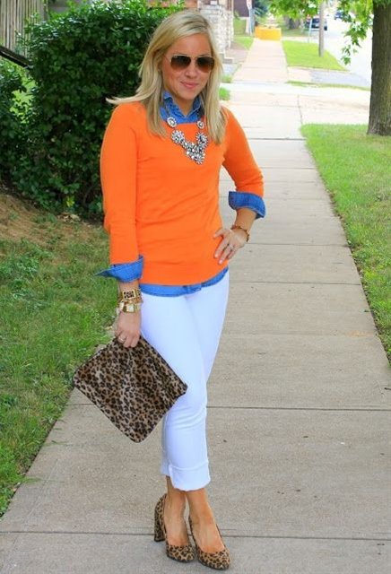 white jeans, chambray shirt under an orange sweater with a cheetah print clutch...might do a different shoe though.