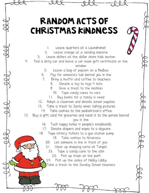 DIY Random Acts of Christmas Kindness Advent Calendar, Part 2 - Includes ideas and printable cards.