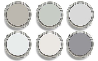 Top row: Sherwin-Williams Mindful Gray SW 7016, and Silver Strand SW 7057. Benjamin Moore Graytint 1611.  Bottom row: Benjamin Moore Misty Gray 2124-60. Dunn Edwards & California Paints Faded Gray DEW 382, and Formal Gray DE6382.