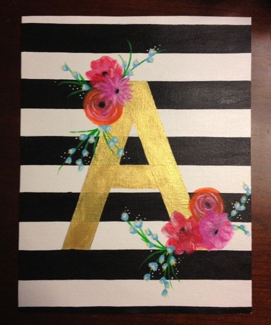 Chic Letter Striped Painting on Etsy, $35.00 @Audrey Williams-Barrows   check out her work! @Audrey Williams-Barrows