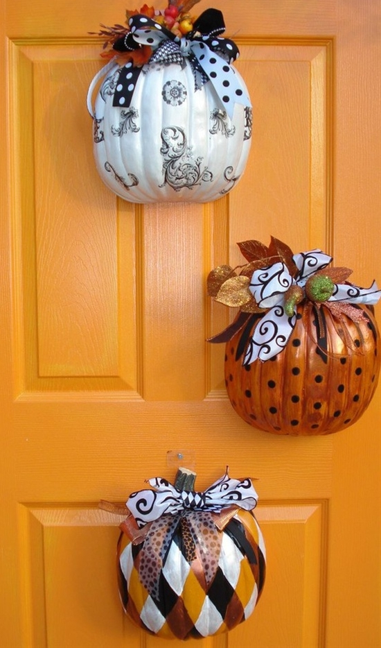 Cheap Thanksgiving Home Door Decor  - Dollar Tree Pumpkins Halved & Hung on the Door~~ {What's Dollar Tree?}