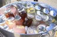 Mason Jars filled with pre-made drinks