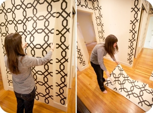 """Following right along this month with our """"renter-friendly-decorating"""" tips, I wanted to share two of the coolest all-over wall covering techniques that have just hit lots of renters AND homeowners homes in this past year. Removable wallpaper and Fabric Starched walls. Both GREAT, non-permanent ways to give whatever space you choose in your house, a big punch of color and visual interest..."""