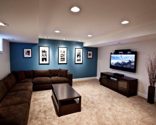 Awesome basement remodel decorating ideas, Sleek Minimalist Media Room, Brown Sofa