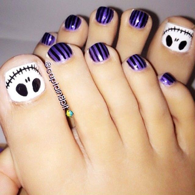 halloween toenails by captain8bit