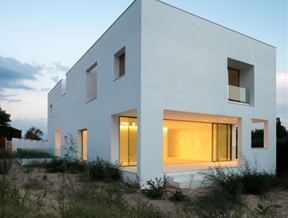 Square holes puncture all five sides of Casa H by Bojaus Arquitectura