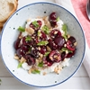 Sweet-Sour Macerated Cherries With Marcona Almonds, Mint, and Ricotta