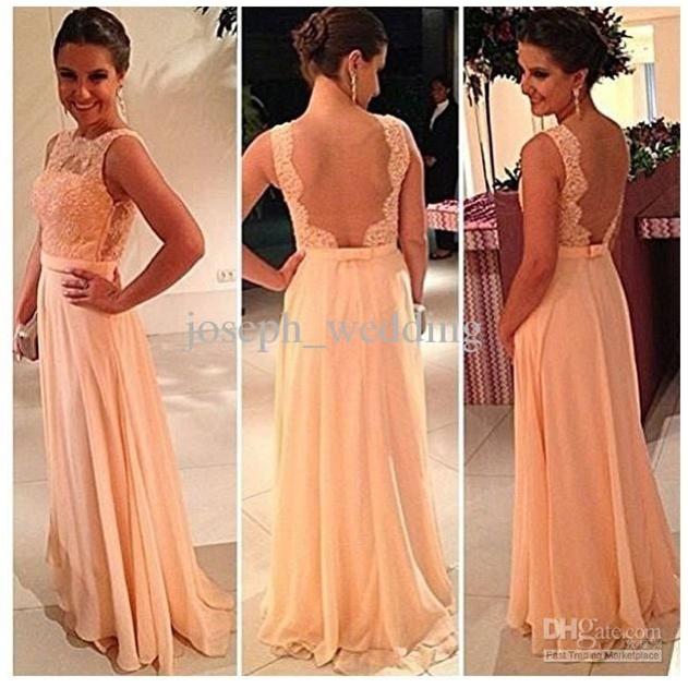 Wholesale Bridesmaid Dress - Buy !High Quality Nude Back Chiffon Lace Long Peach Color Bridesmaid Dress