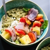 Freekeh with Basil-Cilantro Pesto and Grilled Pineapple Skewers