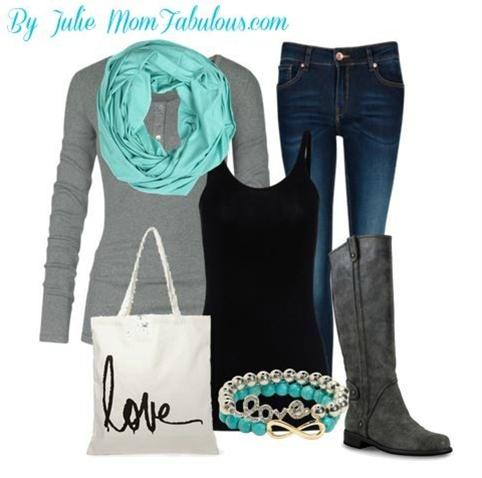Outfit details: Gap Henley, Nine West Boots, LOFT Jeans, Turquoise Scarf