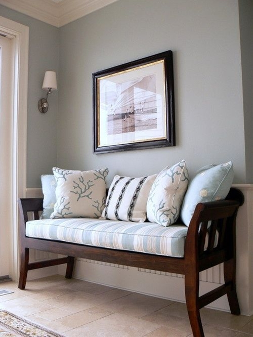 Love this color and bench for an entryway idea...