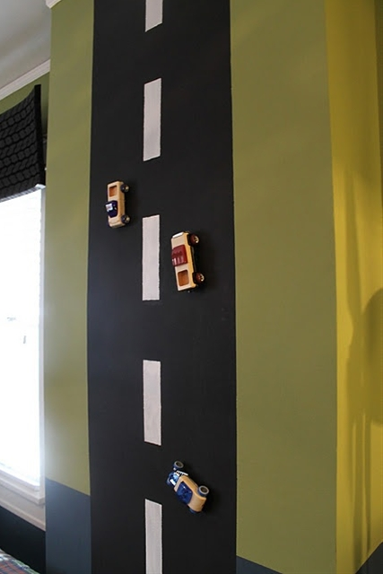 For a boys room - magnetic paint turned into a road to play with toy cars!