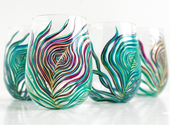 Regal Peacock Feather Stemless Wine Glasses-4 Piece Hand-Painted Collection by Mary Elizabeth Arts
