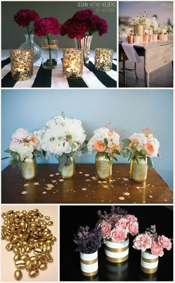 Gold is majorly hot right now. Remember when we all thought gold was gross and totally old school? Yeah, it's hard to because these days gold is very glam. It adds a touch of elegance to your event, and can be used as accents to your simple color scheme to up the glam quotient.  Budget Savvy Tip: Again, using spray paint you can easily incorporate gold into your decor by upcycling mason jars, tin cans, etc. Even coffee beans can get a glam makeover and you can use them as vase filler for an upscale look. Check out sites like Save-on-crafts.com for some budget friendly items!