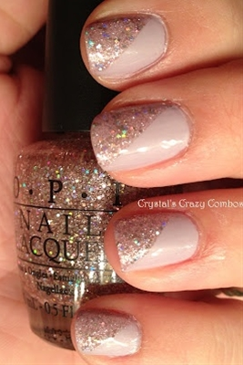 diagonal glitter... adds a lil glam to this neutral color