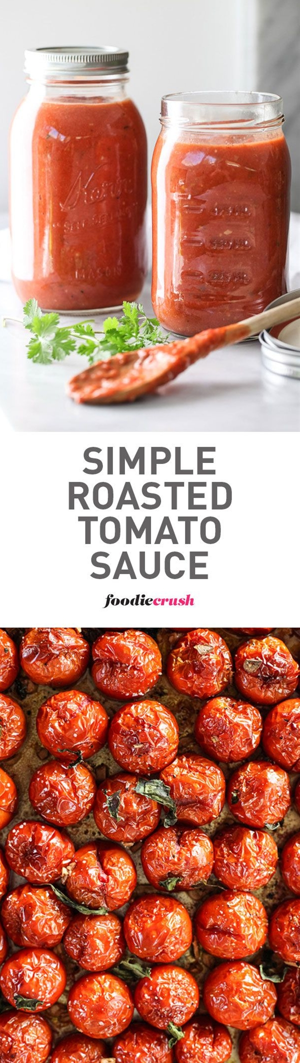 The secret to this favorite sauce #recipe starts with fresh tomatoes that are roasted in the oven to make them extra sweet all year round | foodiecrush.com