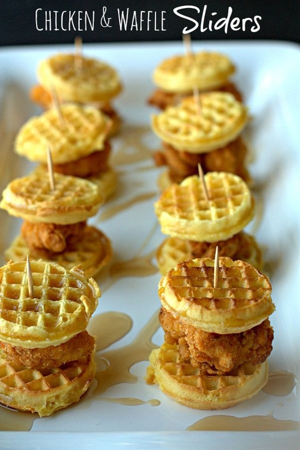 Ingredients: frozen mini waffles,  chicken tenders, cooked,  {real} maple syrup,  toothpicks.