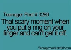 This is why I never wear rings!! Seriously it happens to me all the time.