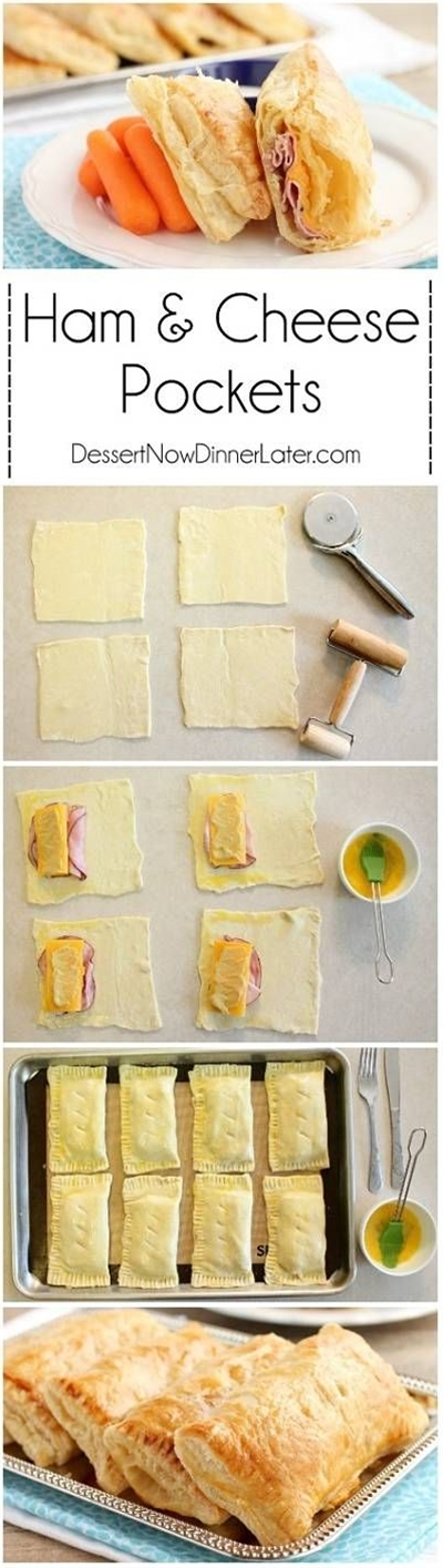 5 ingredient Ham and Cheese Pockets are easy to make for a great tasting hot lunch or dinner!\n\n