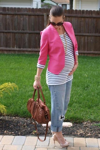 Stylish While Pregnant, LOFT, Stripes, Spring, TANO