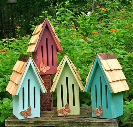 Butterfly houses... homemade of course... no better way than your own.