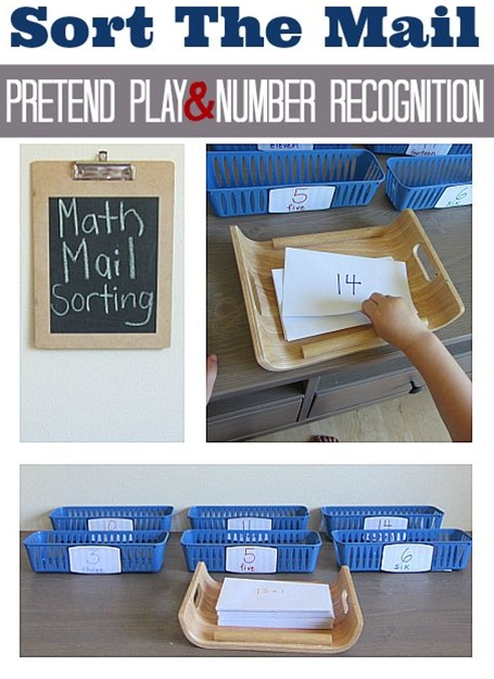 Pretend play and number recognition! Great math activity for kids.