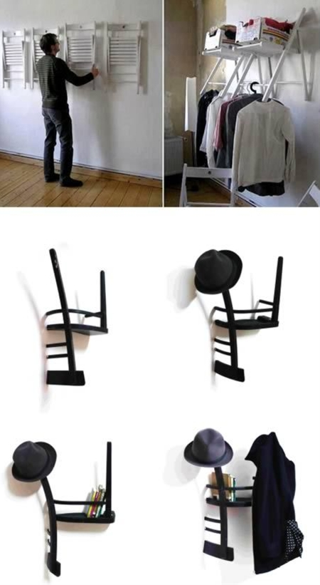Closet Designs  -Make your own unique shelves with decorative hanging folding chairs.