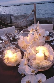 white orchids in bubble balls with lit up candles. cluster together various sizes to give more illuminance.