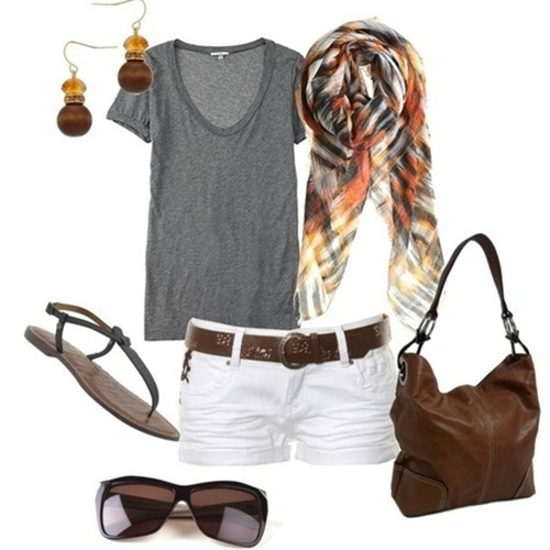 Cute outfit for summer. Black or bright color instead of brown purse