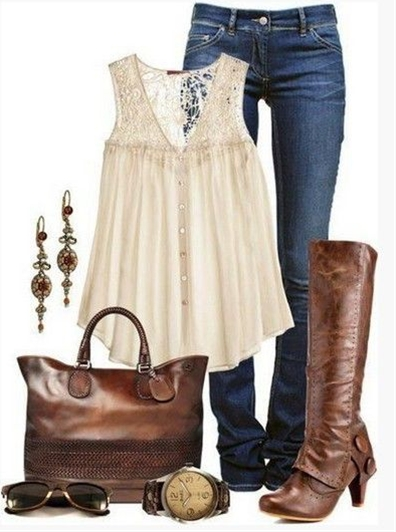 Brown Spring Outfit,pink lace embroidered top and brown knee-length boots love these boots!
